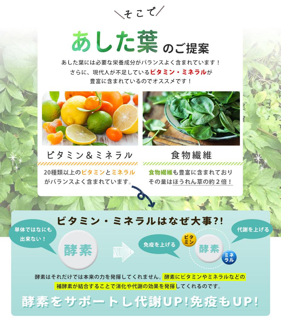 自然縁からはあした葉のご提案。あした葉には必要な栄養成分がバランスよく含まれています。現在人が不足しがちなビタミン・ミネラルが豊富に含まれているのでお勧めです。体内酵素は単体では何もできません。酵素にビタミンやミネラルなどの補酵素が結合することで消化や代謝の効果を発揮してくれるのです。