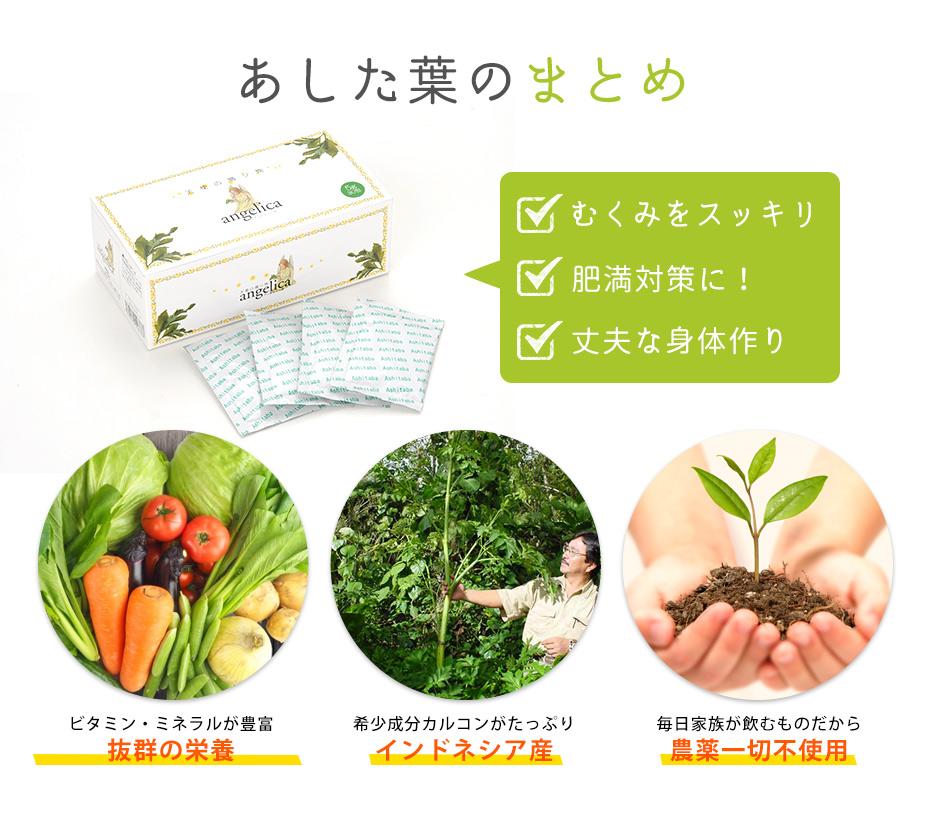 あした葉はむくみをスッキリ、肥満対策、頑丈な身体作りに一役買ってくれます。また、栄養豊富で、希少成分がたっぷりのインドネシア産あした葉を使用。安心して飲んでいただけますよう農薬を一切使用しておりません。